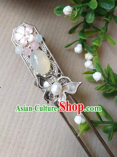 Traditional Chinese Ancient Classical Hair Accessories Hanfu Agate Hair Clip Step Shake Hairpins for Women