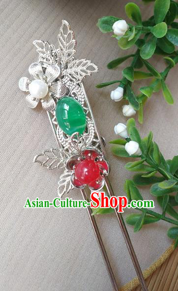 Traditional Chinese Ancient Classical Hair Accessories Hanfu Green Agate Hair Clip Step Shake Hairpins for Women