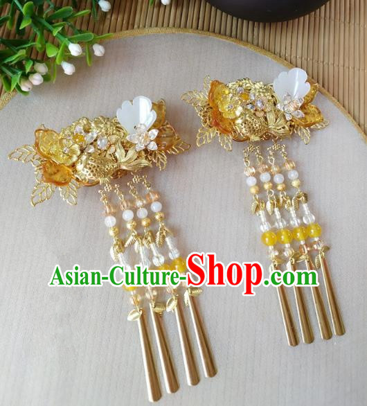 Traditional Chinese Ancient Classical Hair Accessories Hanfu Tassel Hair Stick Step Shake Hairpins for Women
