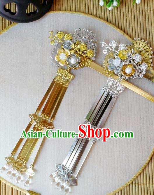 Traditional Chinese Ancient Classical Hair Accessories Hanfu Fan Tassel Hair Stick Step Shake Hairpins for Women