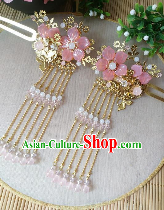 Traditional Chinese Ancient Classical Hair Accessories Hanfu Pink Flowers Tassel Hair Clip Step Shake Hairpins for Women