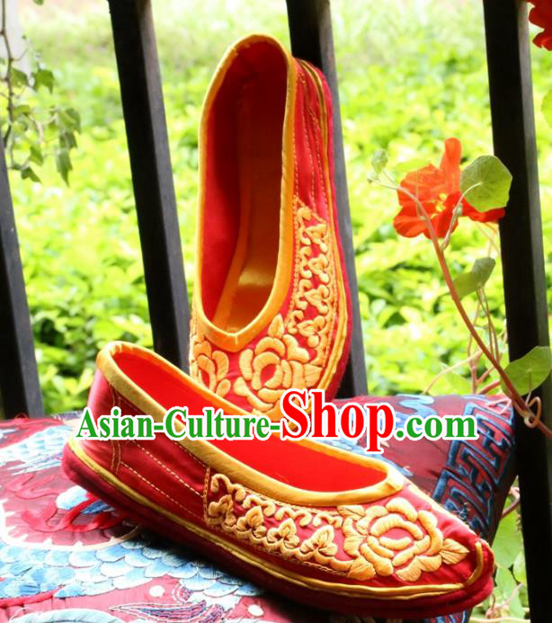 Asian Chinese Traditional Shoes Bride Red Xiuhe Suit Embroidered Shoes, China Peking Opera Handmade Embroidery Shoe Hanfu Princess Shoes for Women