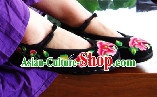 Asian Chinese Traditional Shoes Wedding Bride Black Embroidered Shoes, China Peking Opera Handmade Embroidery Peony Shoe Hanfu Shoes for Women