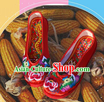 Asian Chinese Traditional Shoes Bride Red Embroidered Shoes, China Peking Opera Handmade Embroidery Shoe Hanfu Princess Shoes for Women