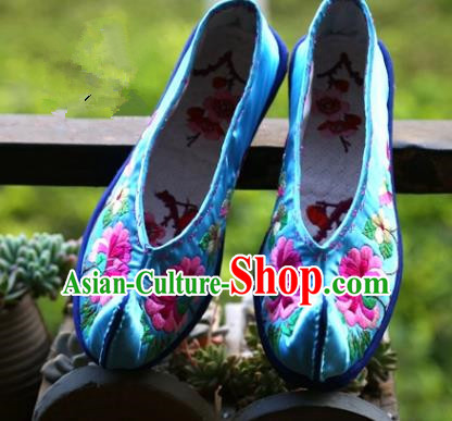Asian Chinese Traditional Shoes Wedding Bride Blue Embroidered Shoes, China Handmade Embroidery Hanfu Shoes for Women