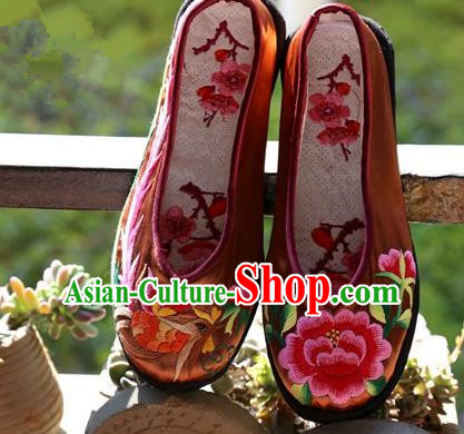 Asian Chinese Traditional Shoes Wedding Bride Brown Embroidered Shoes, China Handmade Embroidery Hanfu Shoes for Women