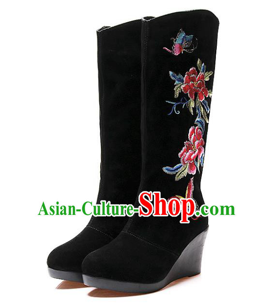 Asian Chinese Traditional Shoes Black Embroidered Boots, China Handmade Embroidery Peony Hanfu Shoes for Women