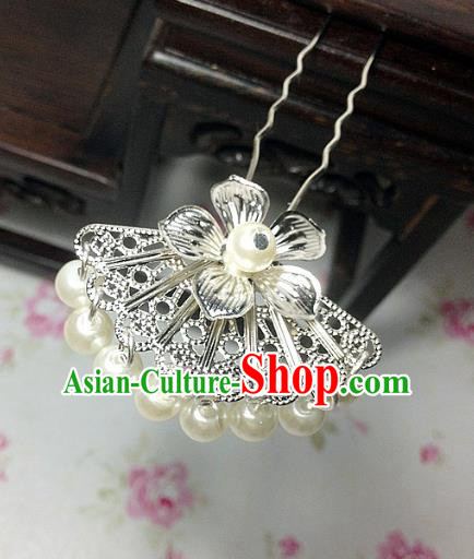 Traditional Chinese Ancient Classical Hair Accessories Hanfu Pearls Tassel Hair Clip Bride Hairpins for Women