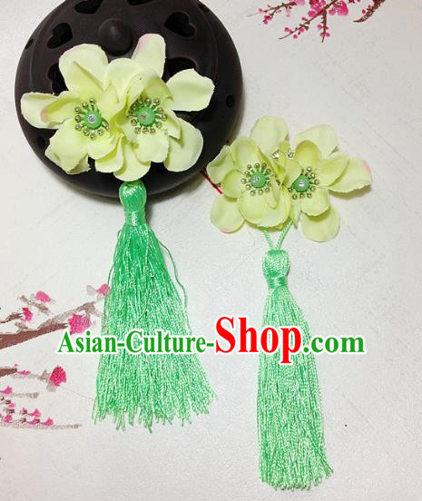 Traditional Chinese Ancient Classical Hair Accessories Hanfu Green Flowers Tassel Hair Stick Bride Hairpins for Women