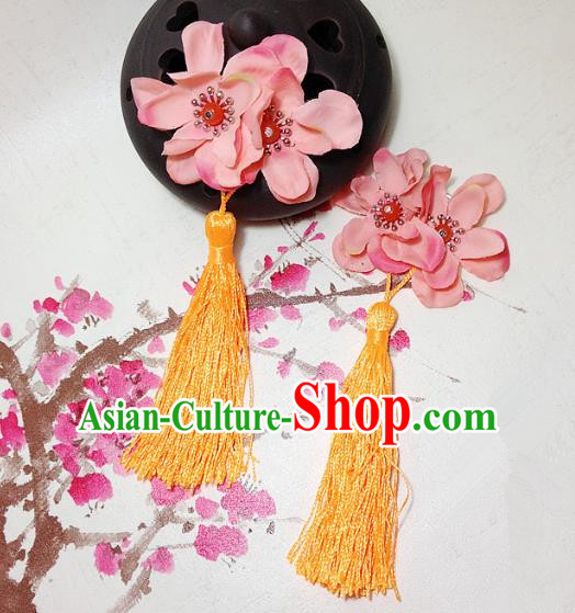 Traditional Chinese Ancient Classical Hair Accessories Hanfu Flowers Yellow Tassel Hair Stick Bride Hairpins for Women