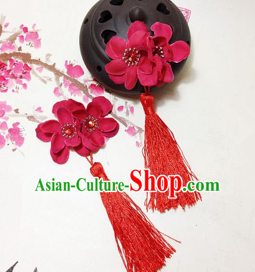 Traditional Chinese Ancient Classical Hair Accessories Hanfu Red Flowers Tassel Hair Stick Bride Hairpins for Women