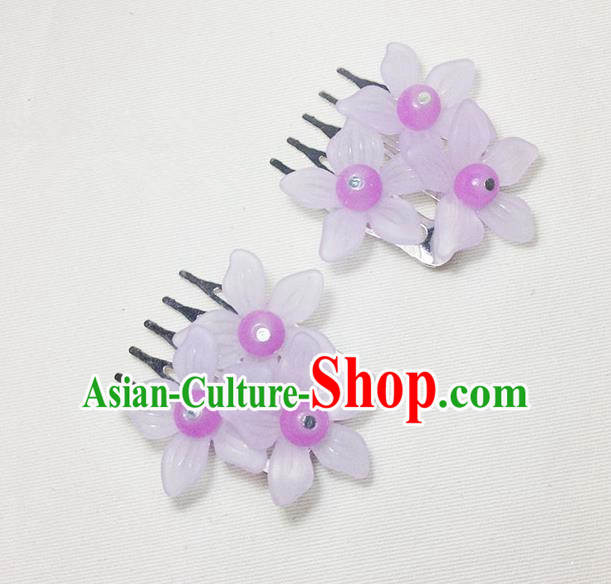 Traditional Chinese Ancient Classical Hair Accessories Hanfu Lilac Flowers Hair Comb Bride Hairpins for Women