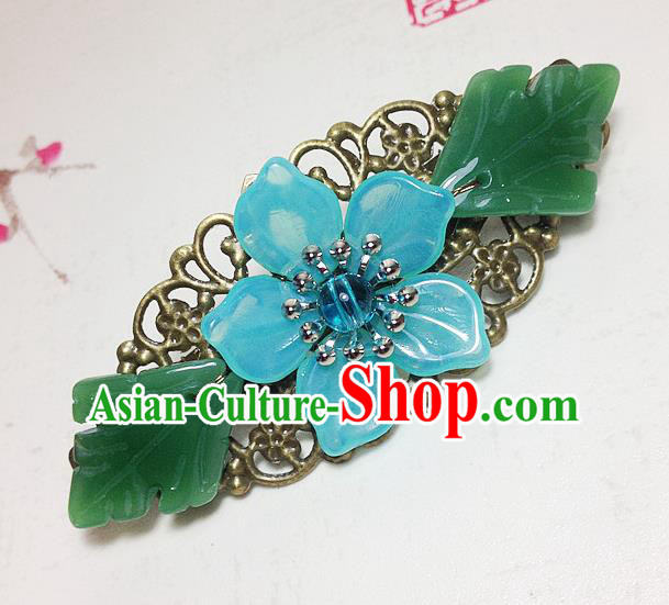 Traditional Chinese Ancient Classical Hair Accessories Hanfu Blue Flower Hair Stick Bride Hairpins for Women