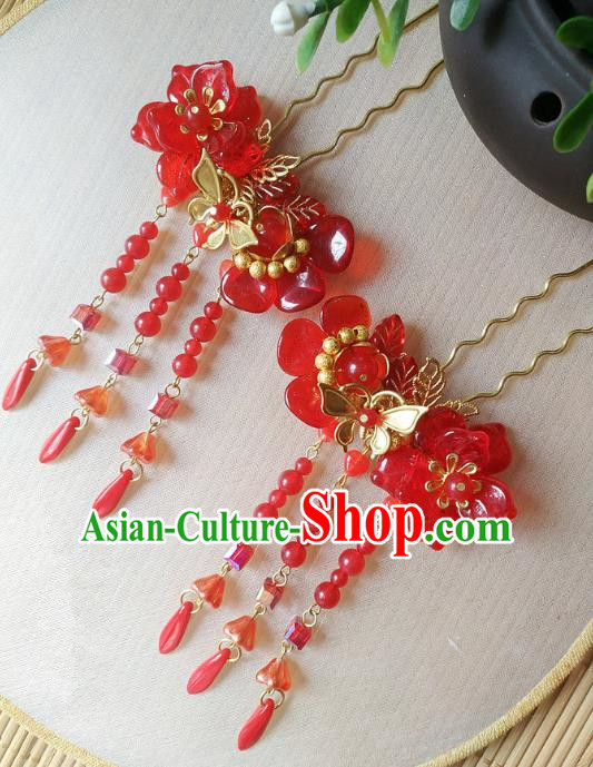 Traditional Chinese Ancient Classical Hair Accessories Hanfu Red Tassel Hair Clip Bride Hairpins for Women