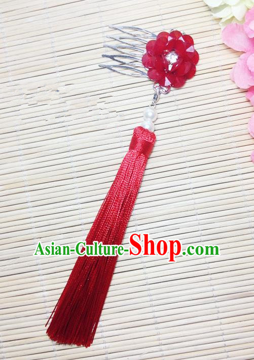 Traditional Chinese Ancient Classical Hair Accessories Hanfu Cheongsam Hair Comb Bride Red Tassel Hairpins for Women