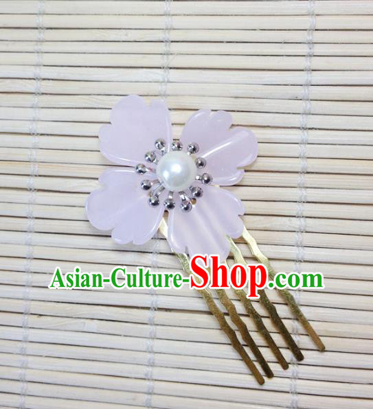 Traditional Chinese Ancient Classical Hair Accessories Hanfu Hair Comb Pink Flower Hairpins for Women