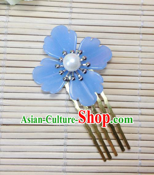 Traditional Chinese Ancient Classical Hair Accessories Hanfu Hair Comb Blue Flower Hairpins for Women