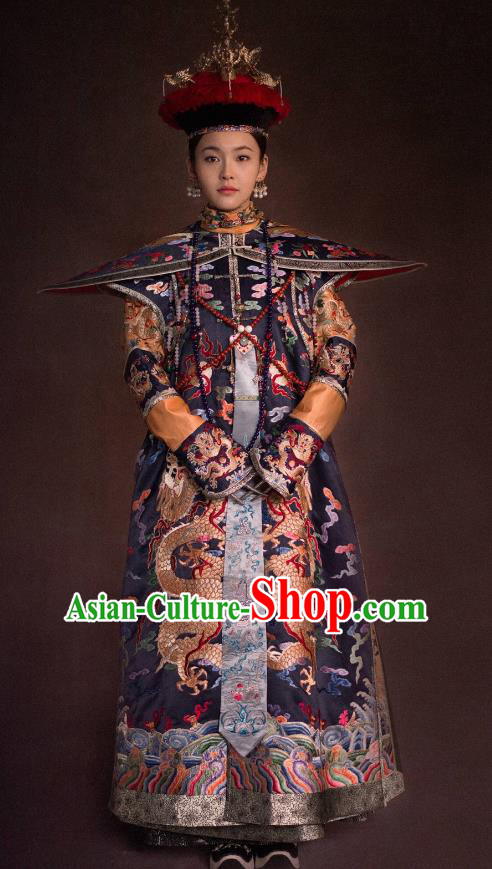 Traditional Ancient Chinese Qing Dynasty Palace Lady Manchu Imperial Concubine Embroidered Costume and Handmade Headpiece Complete Set for Women