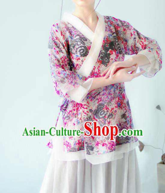 Asian China National Costume Hanfu Slant Opening Printing Flowers Purple Qipao Blouse, Traditional Chinese Tang Suit Cheongsam Shirts Clothing for Women