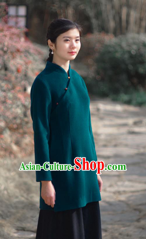 Asian China National Costume Hanfu Slant Opening Green Woolen Qipao Coat, Traditional Chinese Tang Suit Cheongsam Shirts Clothing for Women