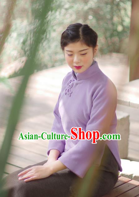 Asian China National Costume Hanfu Slant Opening Purple Woolen Qipao Blouse, Traditional Chinese Tang Suit Cheongsam Shirts Clothing for Women