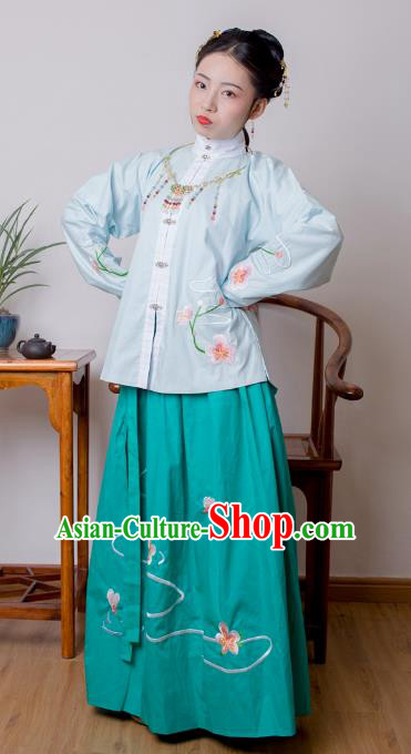 Asian China Ming Dynasty Princess Costume Blue Blouse and Green Skirt, Traditional Ancient Chinese Palace Lady Embroidered Hanfu Clothing for Women