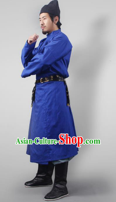 Asian China Tang Dynasty Swordsman Costume Blue Robe, Traditional Ancient Chinese Imperial Bodyguard Clothing for Men