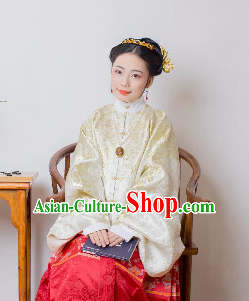 Asian China Ming Dynasty Palace Lady Costume White Brocade Wedding Blouse, Traditional Ancient Chinese Princess Hanfu Embroidered Clothing for Women