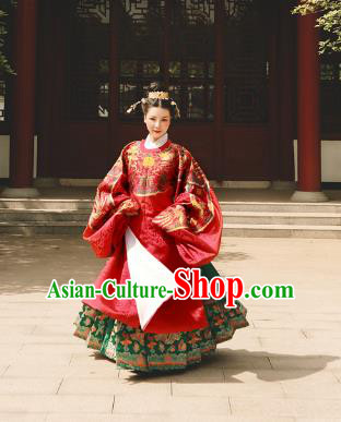 Asian China Ming Dynasty Palace Lady Wedding Costume Complete Set, Traditional Ancient Chinese Princess Hanfu Embroidered Clothing for Women