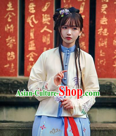 Asian China Ming Dynasty Young Lady Costume Embroidered Blouse, Traditional Ancient Chinese Princess Hanfu Shirts Clothing for Women