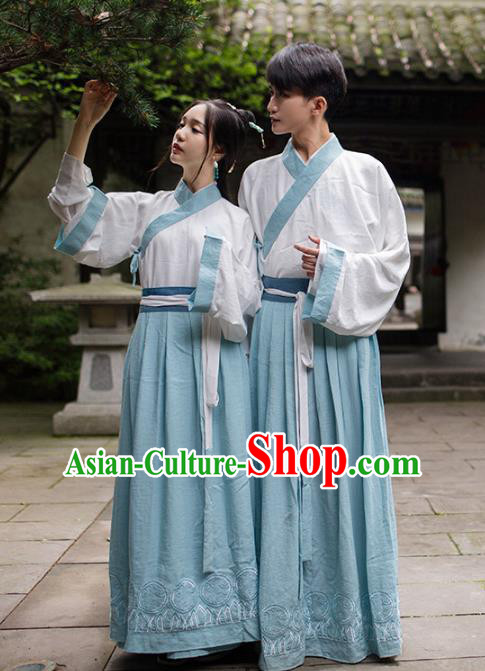 Asian China Han Dynasty Scholar Costume, Traditional Ancient Chinese Hanfu Embroidered Clothing for Women for Men