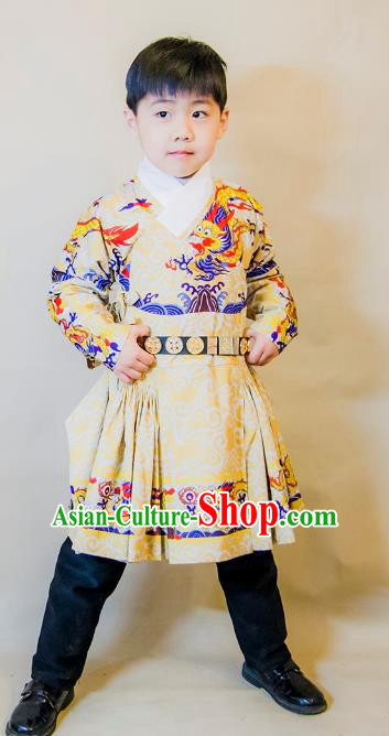 Asian China Ming Dynasty Swordsman Costume, Traditional Ancient Chinese Imperial Emperor Clothing for Kids
