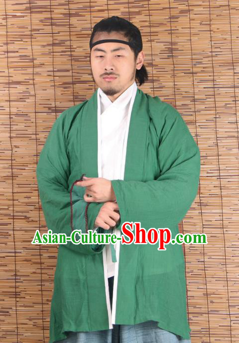 Asian China Ming Dynasty Swordsman Costume Green Shirts, Traditional Ancient Chinese Youxia Hanfu BeiZi Clothing for Men