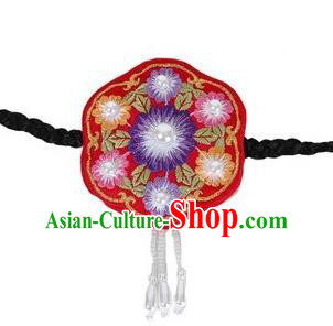 Traditional Korean Hair Accessories, Asian Korean Fashion Headwear Embroidered Tassel Red Hair Clasp for Kids