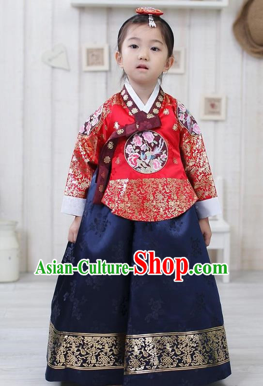 Traditional Korean Hanbok Embroidered Clothing, Asian Korean Fashion Apparel Hanbok Costume for Kids