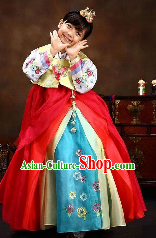 Traditional Korean Handmade Hanbok Embroidered Bride Clothing, Asian Korean Fashion Apparel Hanbok Embroidery Costume for Kids