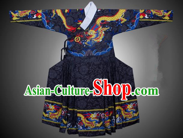 Asian China Ming Dynasty Swordsman Costume Printing Black Robe, Traditional Ancient Chinese Imperial Bodyguard Hanfu Clothing for Men