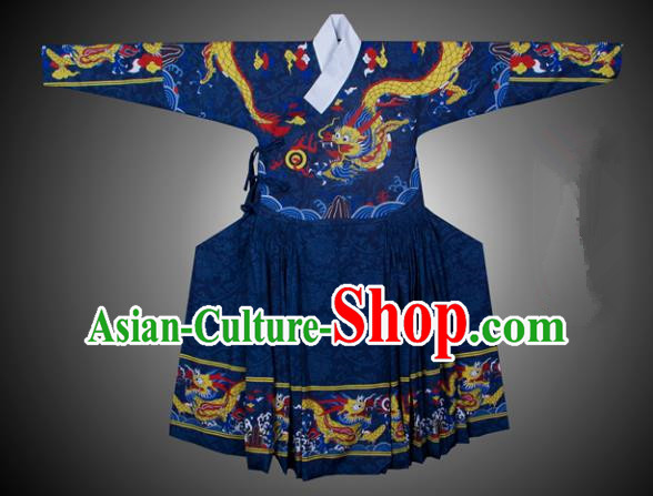 Asian China Ming Dynasty Swordsman Costume Printing Blue Robe, Traditional Ancient Chinese Imperial Bodyguard Hanfu Clothing for Men