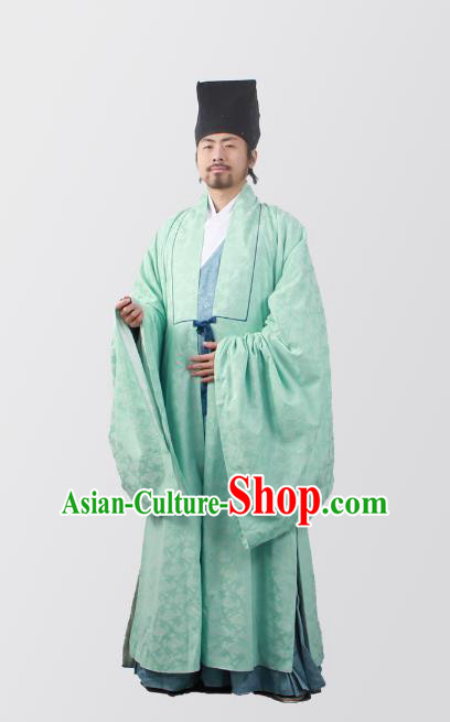 Asian China Ming Dynasty Minister Costume Green Cloak, Traditional Ancient Chinese Chancellor Hanfu Cape Clothing for Men