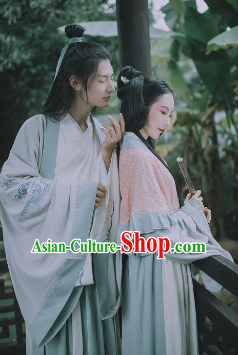 Asian China Jin Dynasty Costume Complete Set, Traditional Ancient Chinese Hanfu Clothing for Men for Women