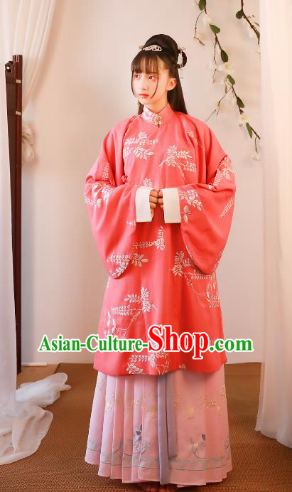Asian China Ming Dynasty Princess Costume Complete Set, Traditional Ancient Chinese Young Lady Embroidered Hanfu Clothing for Women