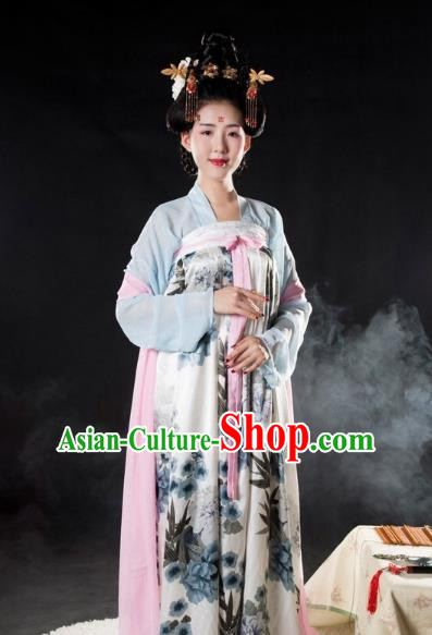 Asian China Tang Dynasty Princess Costume Printing Slip Skirt, Traditional Ancient Chinese Palace Lady Hanfu Clothing for Women