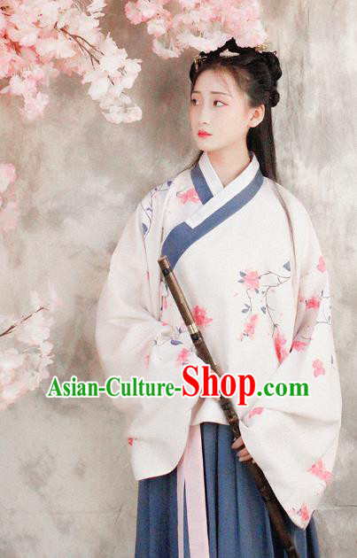 Asian China Ming Dynasty Young Lady Costume White Blouse and Skirt, Traditional Ancient Chinese Princess Hanfu Embroidered Clothing for Women