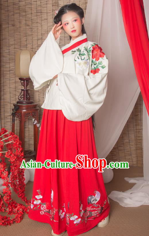 Asian China Ming Dynasty Imperial Princess Costume Blouse and Red Skirt, Traditional Ancient Chinese Hanfu Embroidered Clothing for Women
