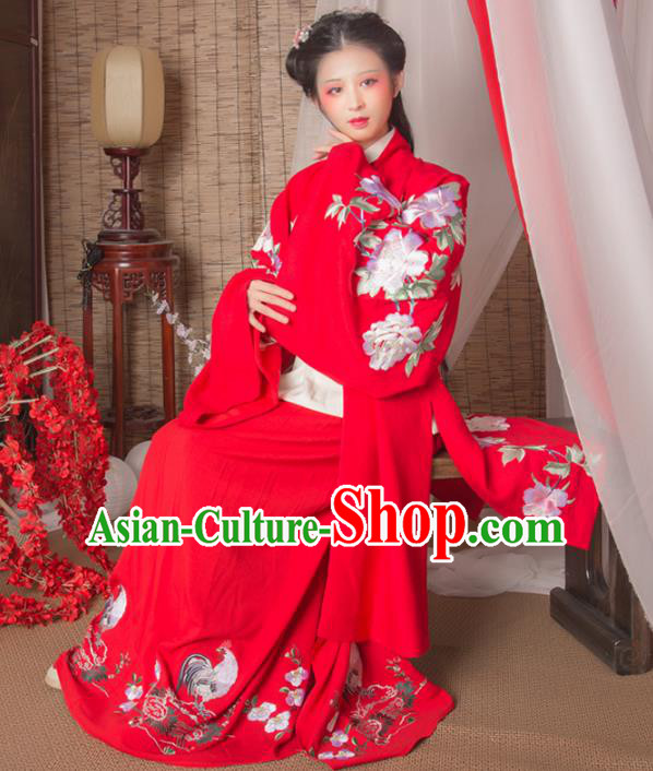 Asian China Ming Dynasty Imperial Princess Red Cloak, Traditional Ancient Chinese Hanfu Embroidered Cape Clothing for Women