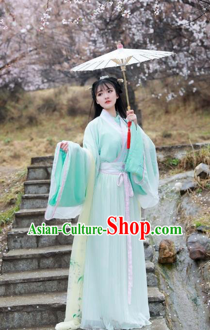 Asian China Jin Dynasty Imperial Princess Costume, Traditional Ancient Chinese Hanfu Embroidered Green Blouse and Skirt Clothing for Women