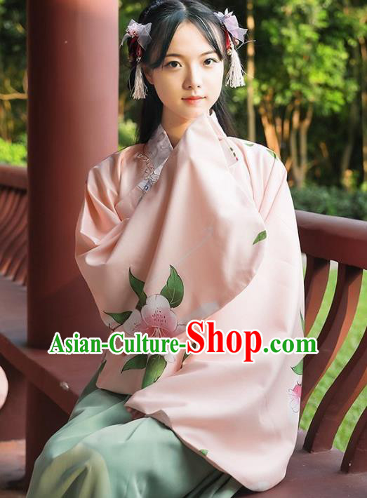 Asian China Ming Dynasty Palace Lady Costume Slant Opening Pink Blouse, Traditional Ancient Chinese Princess Hanfu Embroidered Clothing for Women