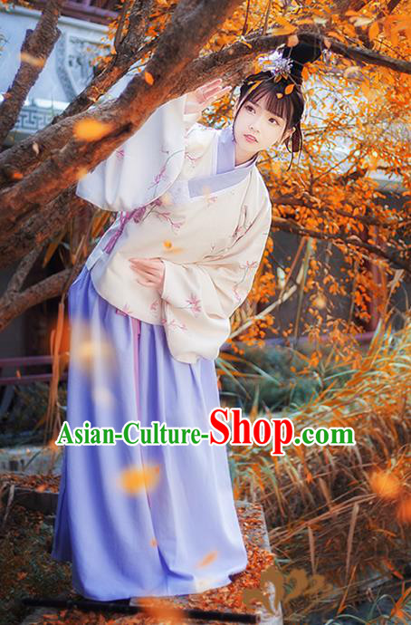 Asian China Ming Dynasty Princess Costume Printing Blouse and Skirt, Traditional Ancient Chinese Palace Lady Hanfu Clothing for Women