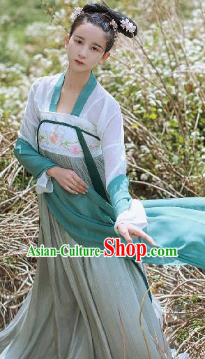 Asian China Tang Dynasty Princess Costume Slip Skirt, Traditional Ancient Chinese Palace Lady Hanfu Clothing for Women