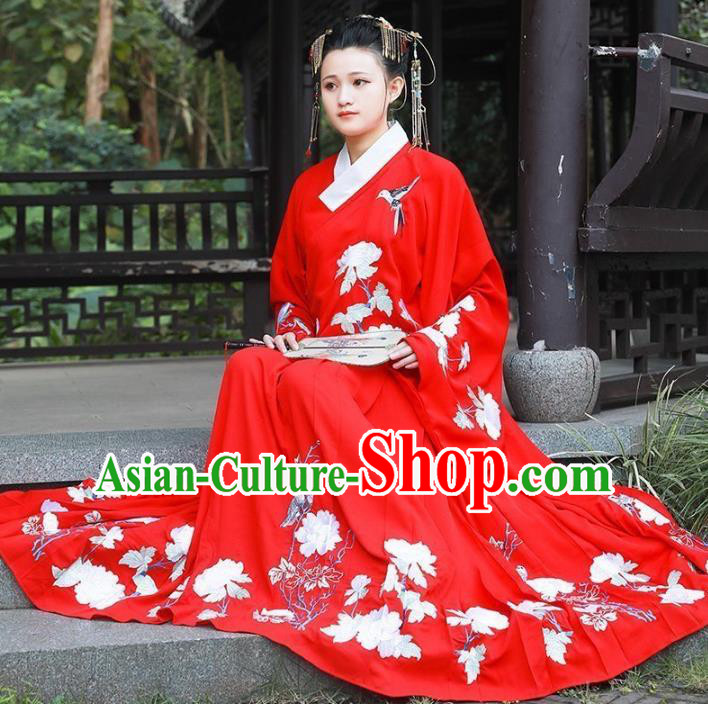 Asian China Ming Dynasty Bride Wedding Costume, Traditional Ancient Chinese Palace Lady Hanfu Red Clothing for Women